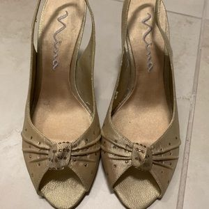 Heels. Worn once. Crystals in front